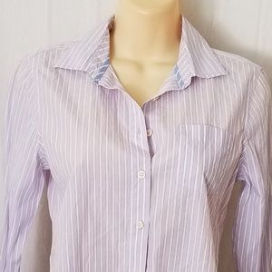 Light Purple Striped Button Down Pocket Shirt